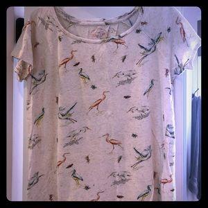 Lucky brand bird print tee size M